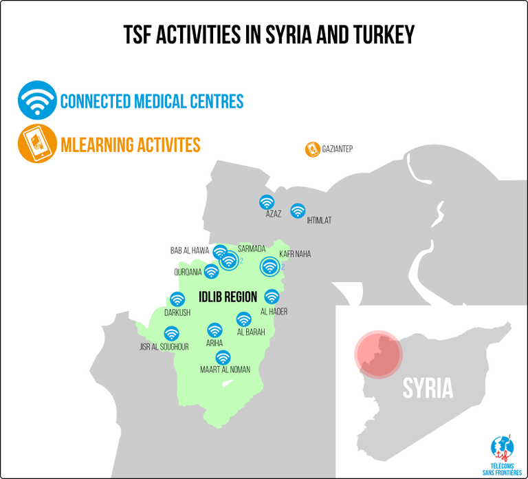 Map showing the areas covered by TSF's mission in Syria and Turkey