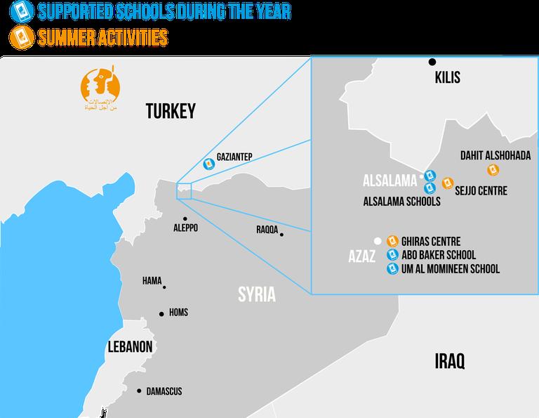 Syrie - carte des centres au 09/2017