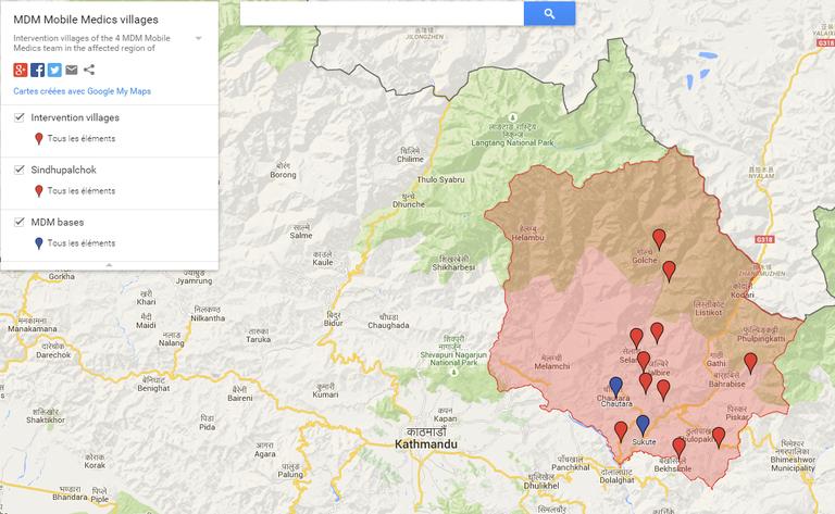 Népal Post-urgence 2015 - Carte villages intervention MDM