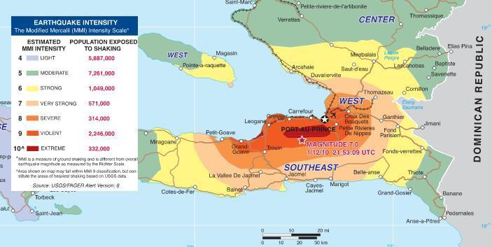 Haïti - Séisme 2010 intensité