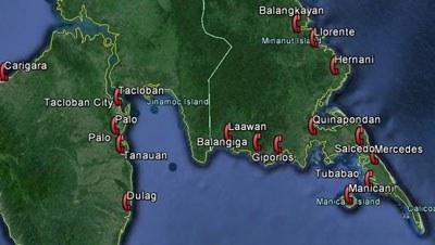 Typhon Haiyan - Carte des opérations de téléphonie humanitaire