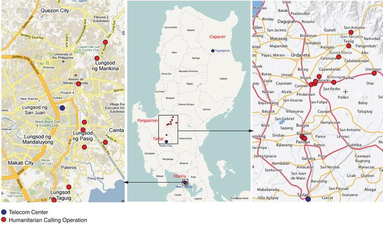 Carte des activités de TSF suite au typhon Ketsana et Parma au philippines en 2009